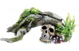 """Decoração Aquário """"Wood Skull Plants"""""""