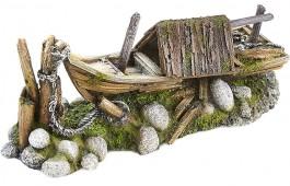 """Decoração Aquário """"Moored Fishing Boat"""""""
