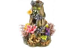 """Decoração Aquário """"Wooden Basket Plant/Coral"""""""